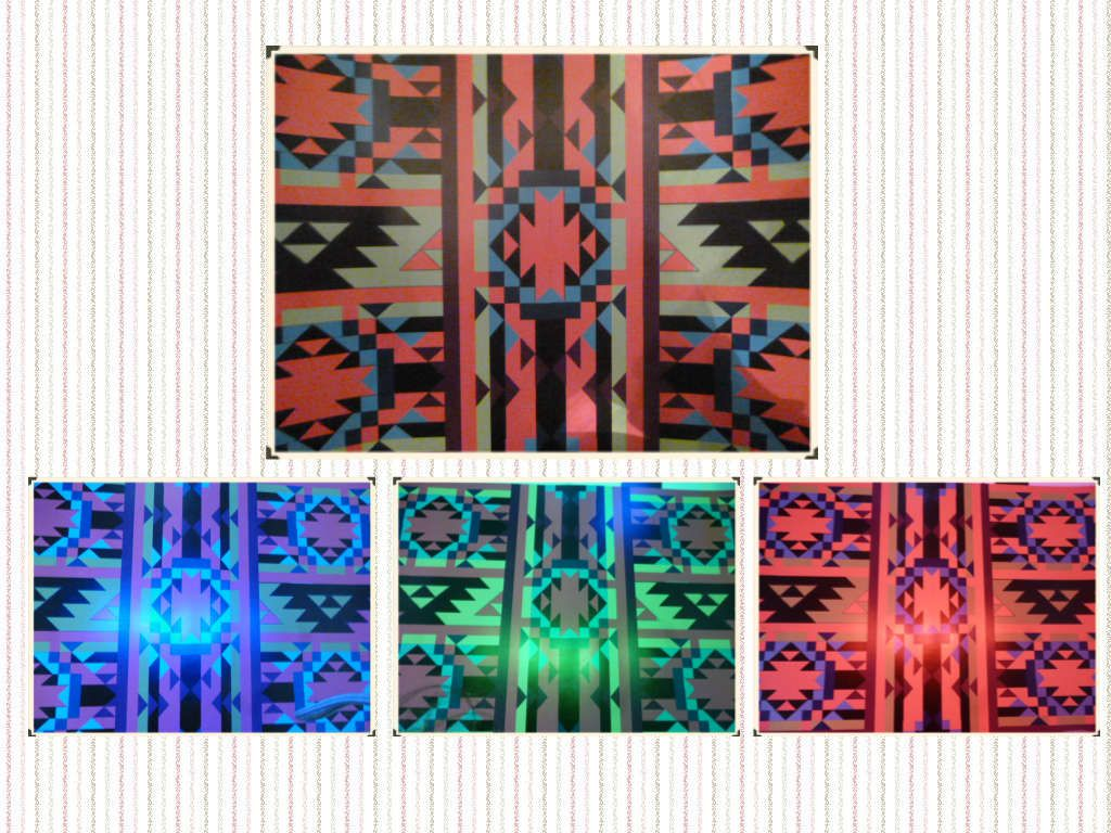 Imagen original e imagenes bajo luz led roja azul y verde.