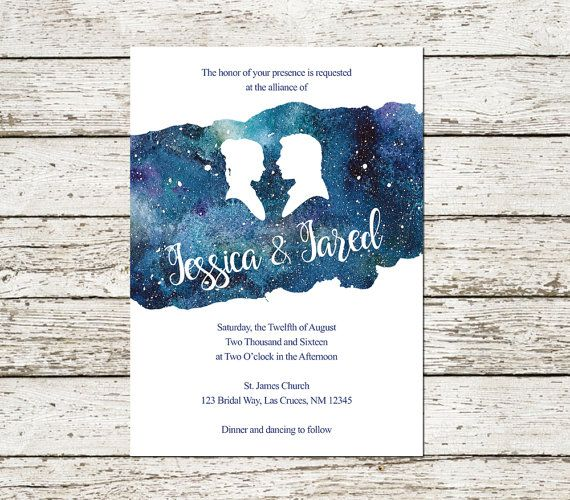 Star Wars Wedding Invitation Han And Leia Blue Watercolor Sci Fi Geek Nerd Printed Prints Digit Star Wars Wedding Star Wars Wedding Theme Star Wars Invitations