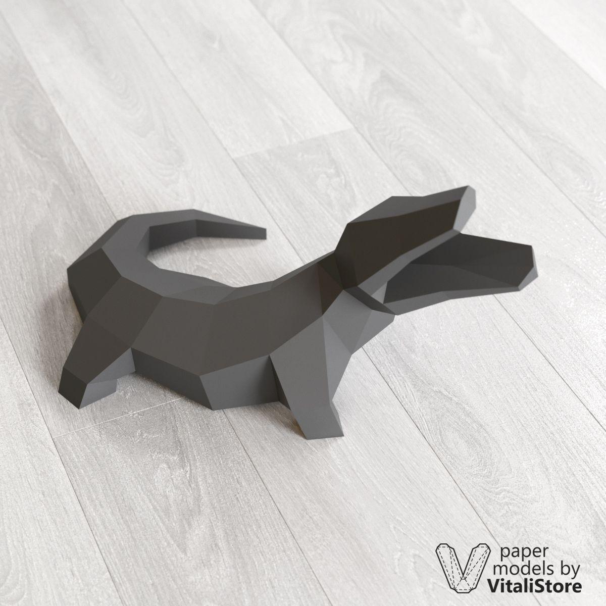 Crocodile Papercraft, Paper Sculpture, DIY Gift | 3D
