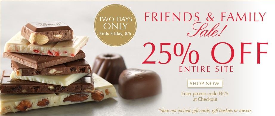 Going on now visit a lindt chocolate shop and enjoy 25