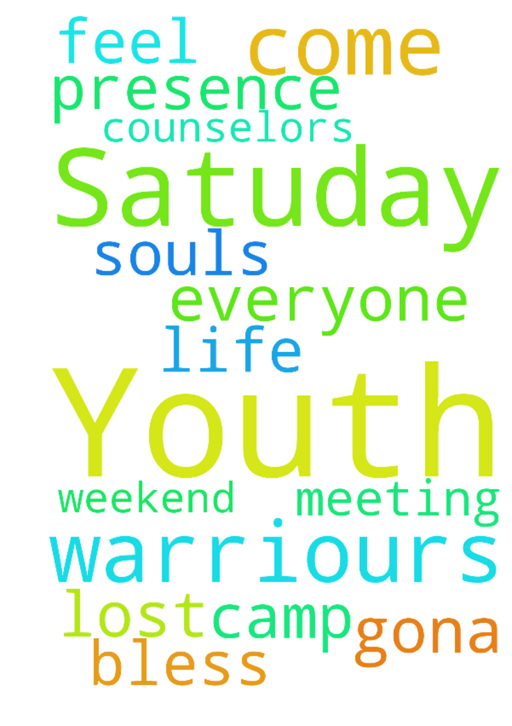 Dear prayer warriours  please pray for Satuday Youth -  Dear prayer warriours  please pray for Satuday Youth Camp Meeting that everyone who comes will feel Gods presence in their life and lost souls will come to Jesus.  PLease pray for the counselors and those who are gona be there for the weekend.  Thank you and God bless you.   Posted at: https://prayerrequest.com/t/8vv #pray #prayer #request #prayerrequest