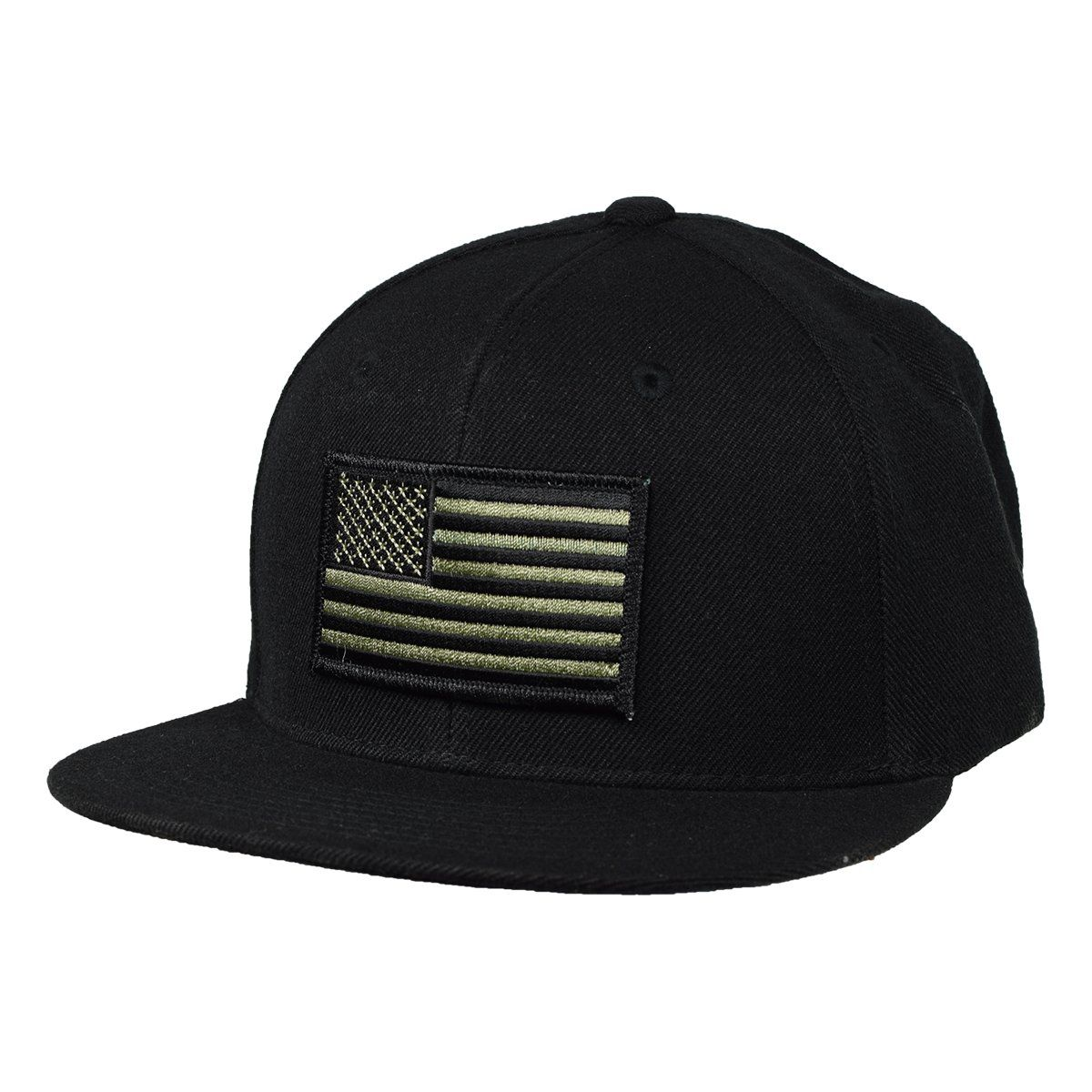 United States of America Hat by LET S BE IRIE - Black Snapback with Olive  Green Flag 7173ef76b33