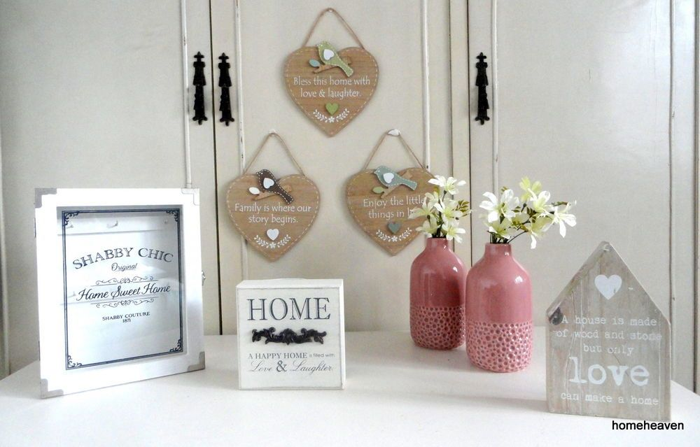 details about shabby chic home decor ornaments vase hanging heart