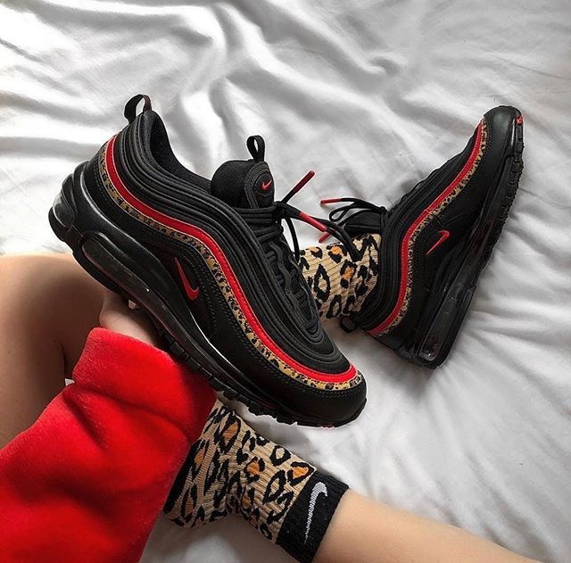 first rate 11195 4e926 Slick yet statement, these women s Air Max 97 OG sneakers from Nike bring a  bold look to your street  fit. In a black colourway with red and leopard  print ...