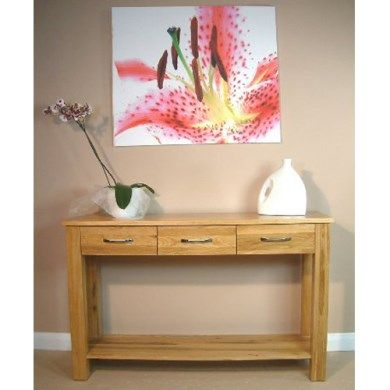mobel solid oak console. Baumhaus Mobel Solid Oak 3 Drawer Console Table E