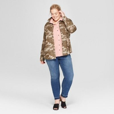 358403b1 Women's Plus Size Camo Print Long Sleeve Camden Button-Down Shirt - Universal  Thread? Olive X #Print, #Long, #Sleeve
