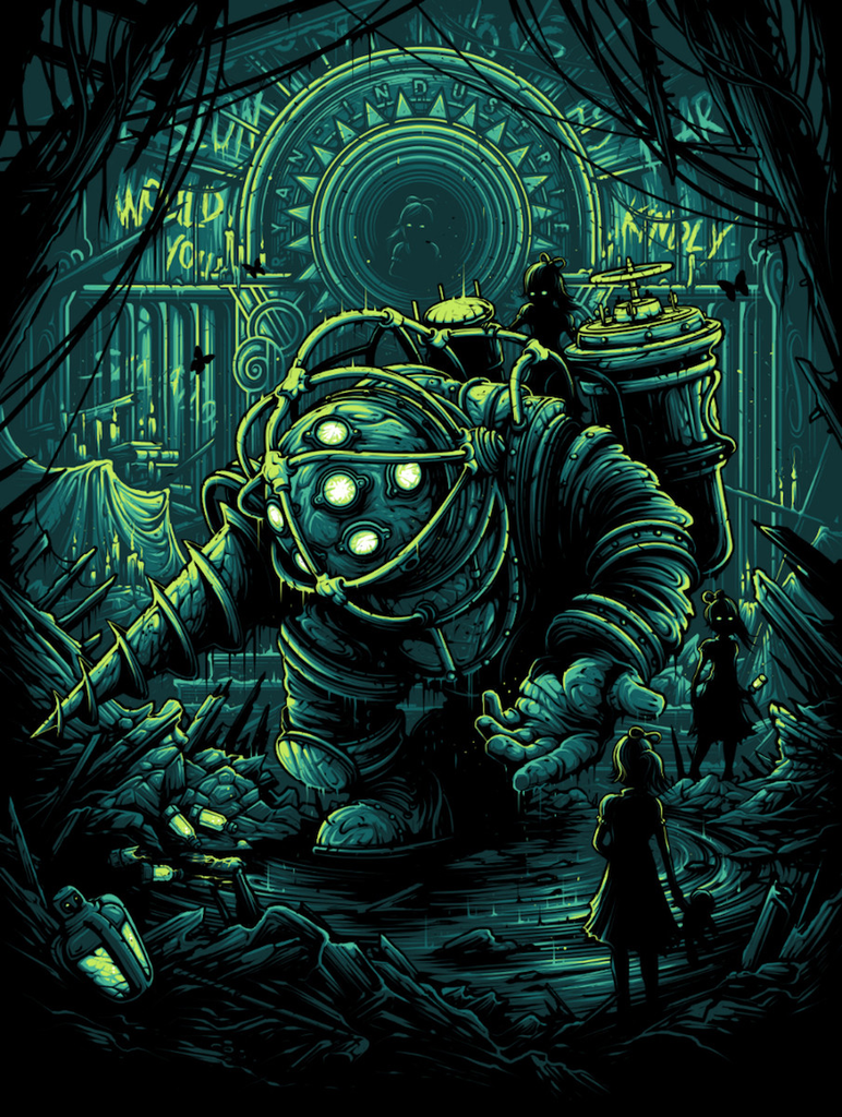 Bioshock Big Daddy Lil/' Sister Would You Kindly Dan Mumford Print Poster #//250