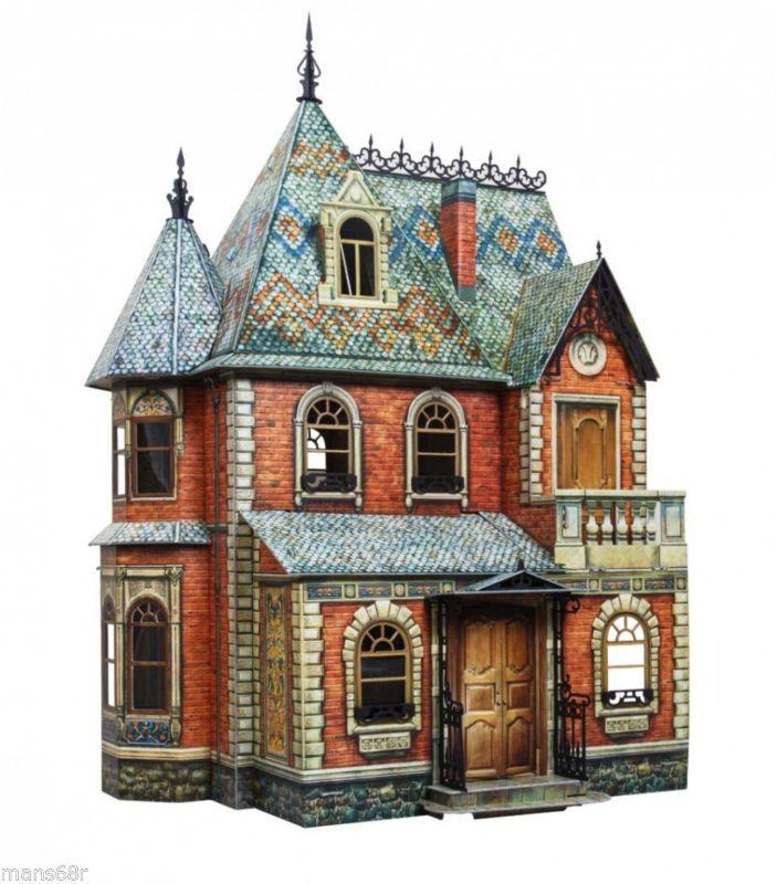 Full Set Victorian Doll House Dollhouse Miniature Scale 1 12 Model
