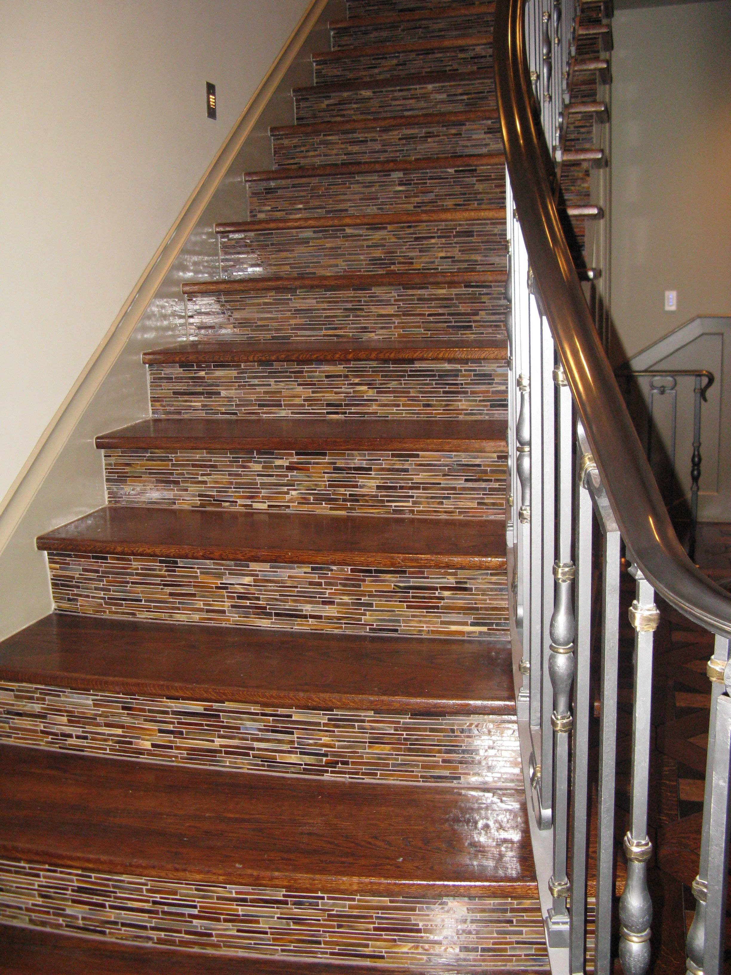 Fabulous Staircase With Tile Up The Risers Staircase   Stair Riser Tiles Designs