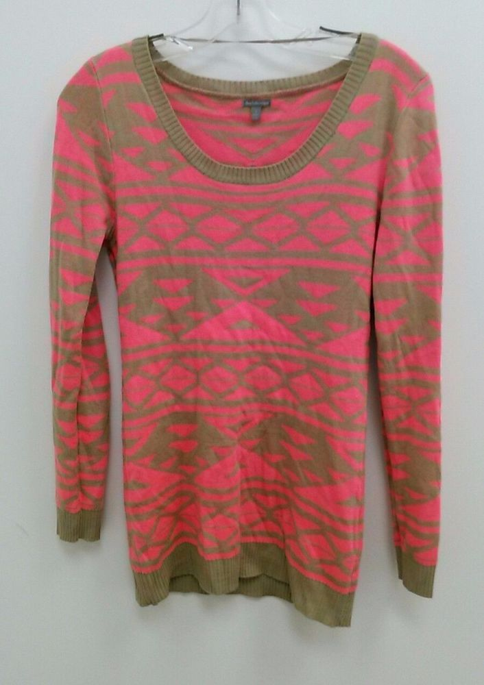 Details about Charlotte Russe Sz Small Coral Pink & Tan Tunic ...