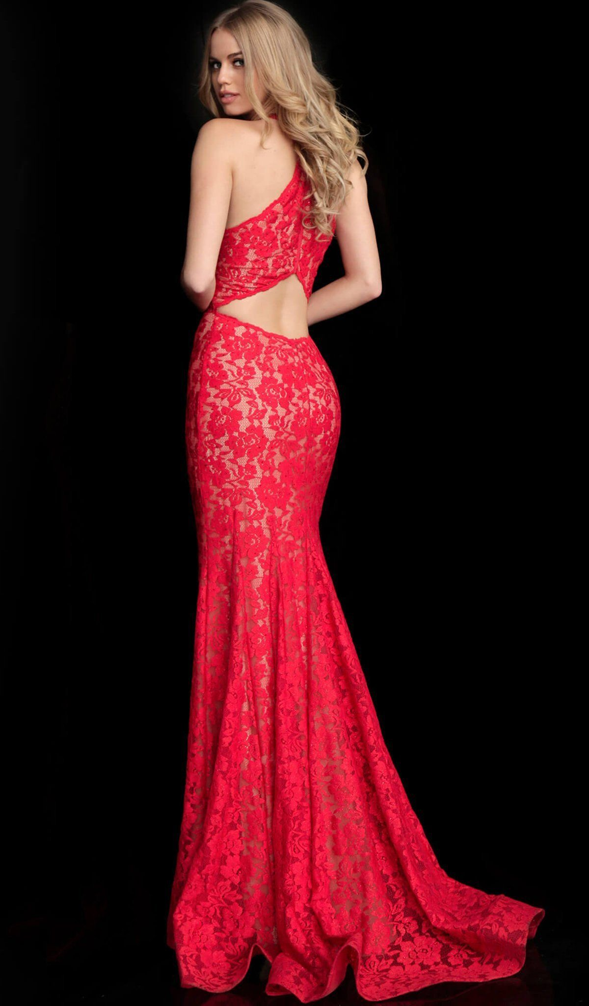 Jovani 63214 Embellished Lace Halter Trumpet Dress Form Fitting Prom Dresses Prom Dresses Sleeveless Fitted Prom Dresses