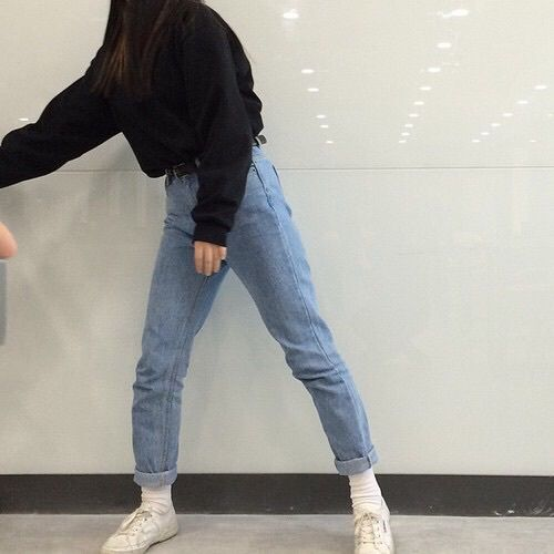 Adidas aesthetic black fashion girl grunge jeans nike outfit pale shoes style white ...