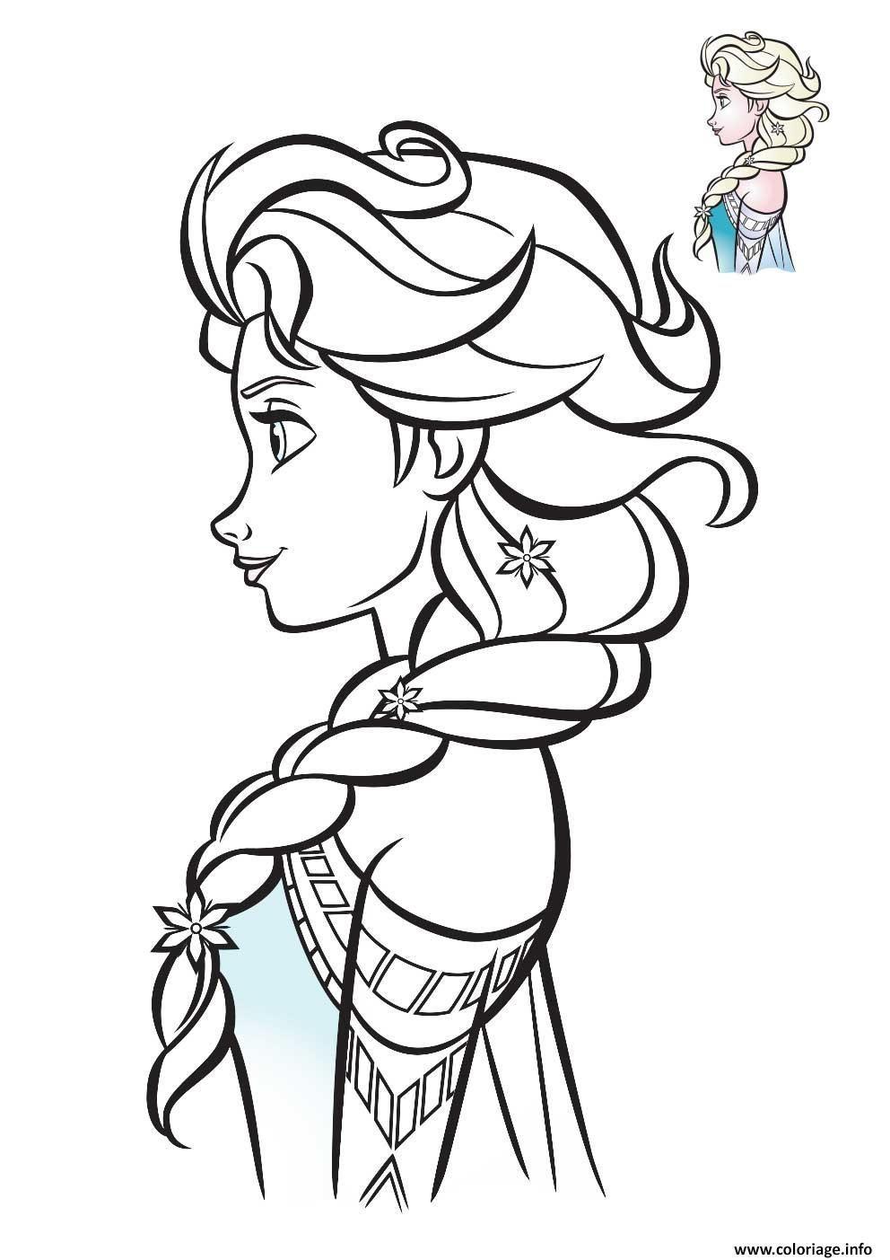 Malvorlage Elsa Queen of Snow Profil 2020 zu drucken in