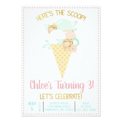 Ice Cream Birthday Invitation | Zazzle.com #icecreambirthdayparty