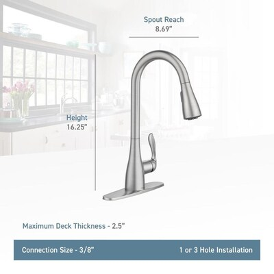 Moen Georgene Spot Resist Stainless 1 Handle Deck Mount Pull Down Handle Lever Commercial Residential Kitchen Faucet Deck Plate Included Lowes Com Kitchen Faucet Faucet Moen Faucets