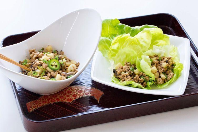 Chicken Lettuce Wraps With Jicama Recipe On Food52 Recipe Jicama Recipe Jicama Lettuce Wraps