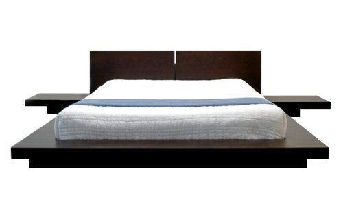 Fujian Modern Paltform Bed + 2 Night Stands Queen (Espresso) by ...