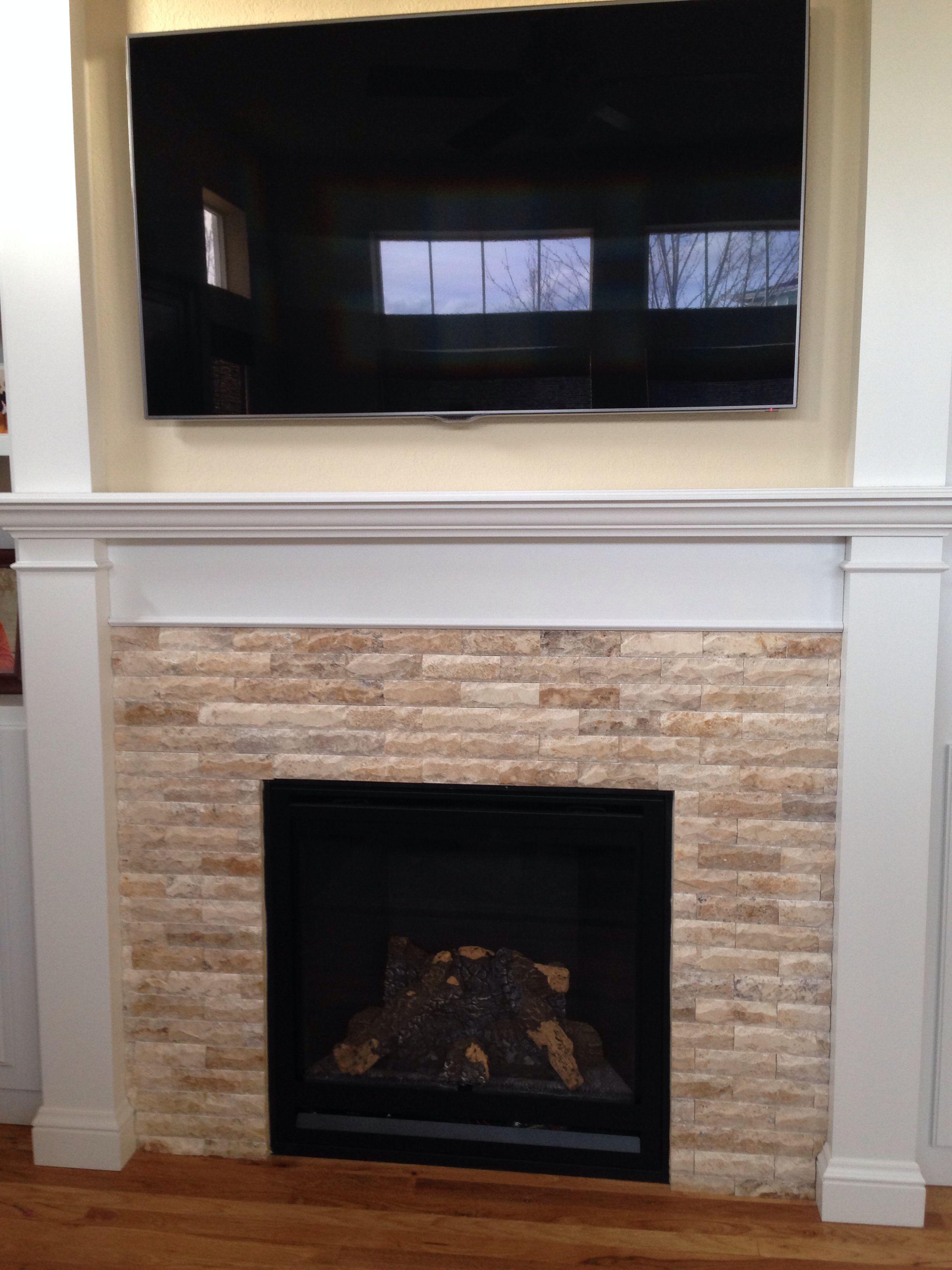 Fire place stone | Fireplace redo, Fireplace mantels, House