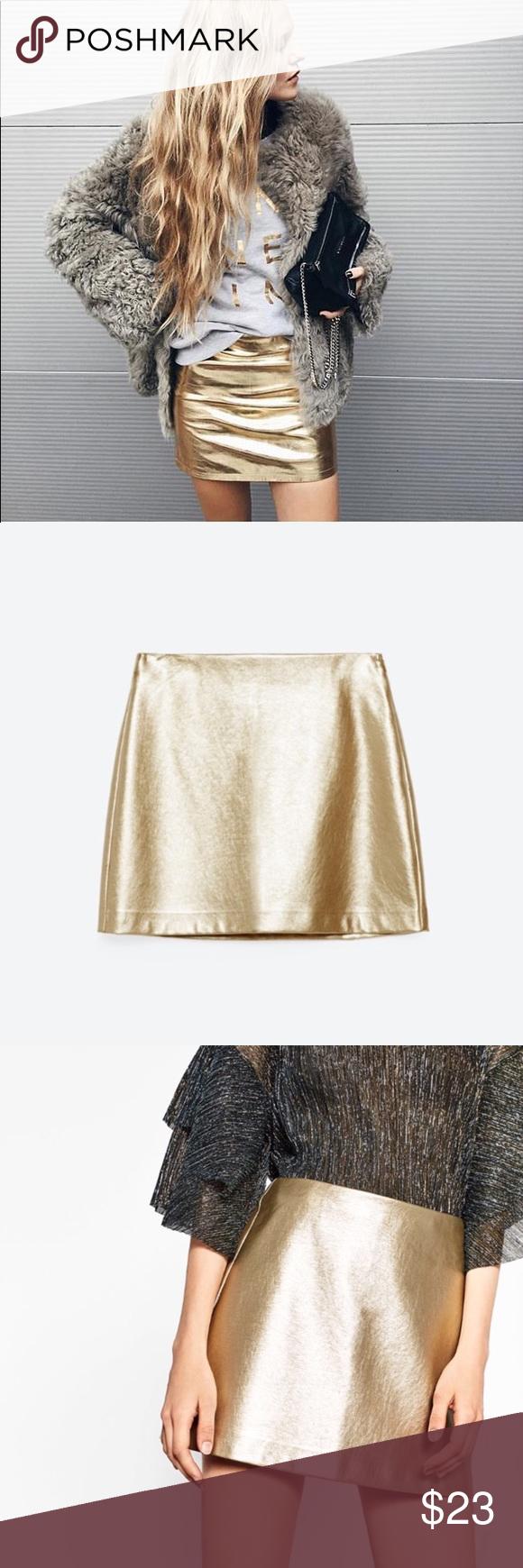 7261e6c19363 Zara Metallic Gold Mini Skirt Faux Leather Golden : Gold Skirt with Silver  Zipper. High