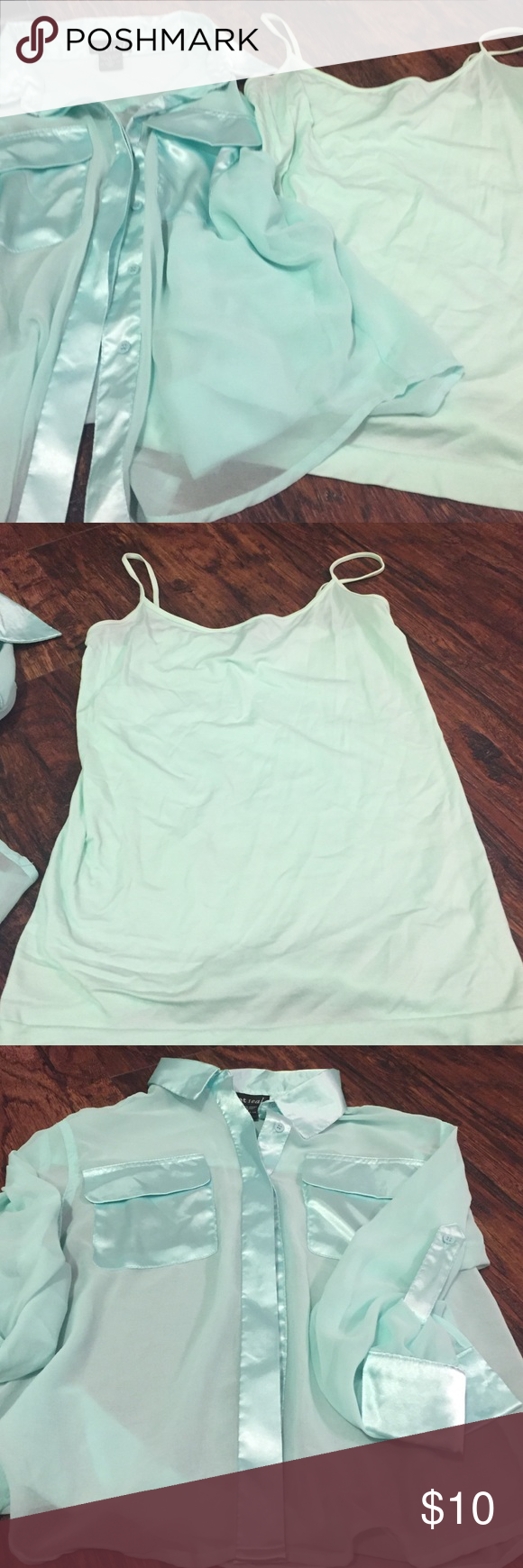Mint green shirt from Wet Seal with Cami! Mint green shirt from Wet Seal with matching Cami. Both shirts are size Medium.  They have no rips, no tears and come from a smoke free home. Wet Seal Tops Blouses