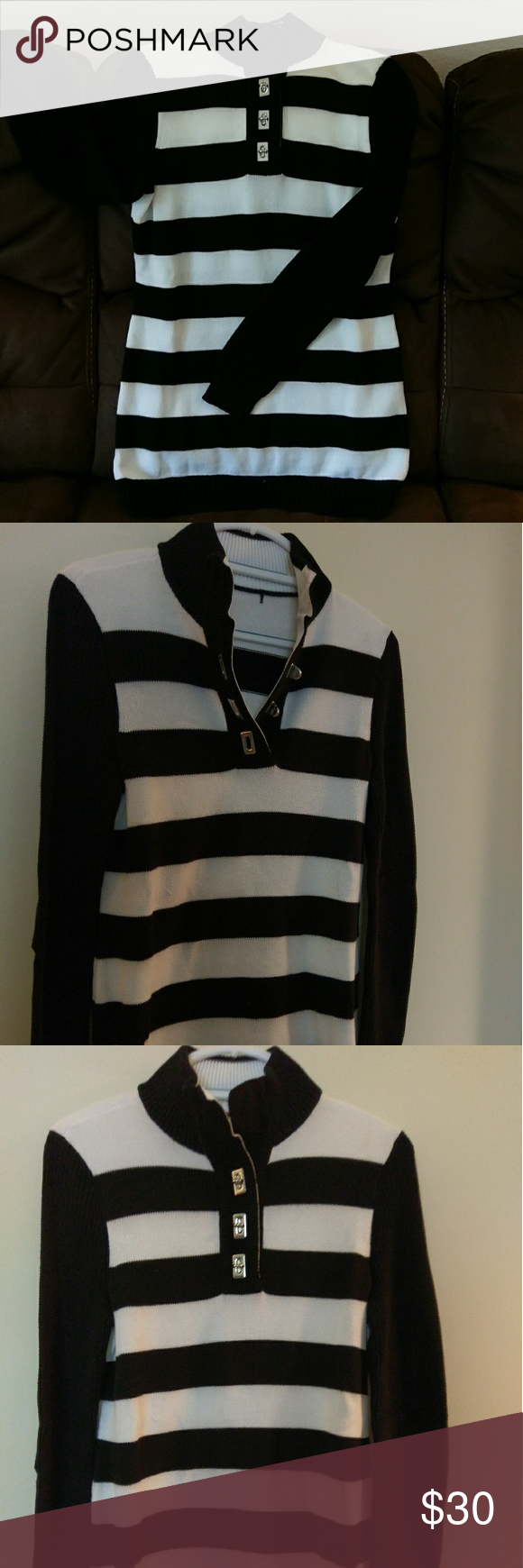 Ralph Lauren black and white striped tunic sweater This Ralph ...