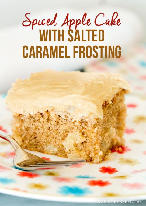 Best Ever Apple Cake with Salted Caramel Frosting on ASpicyPerspective.com - Perfect for fall and so moist!