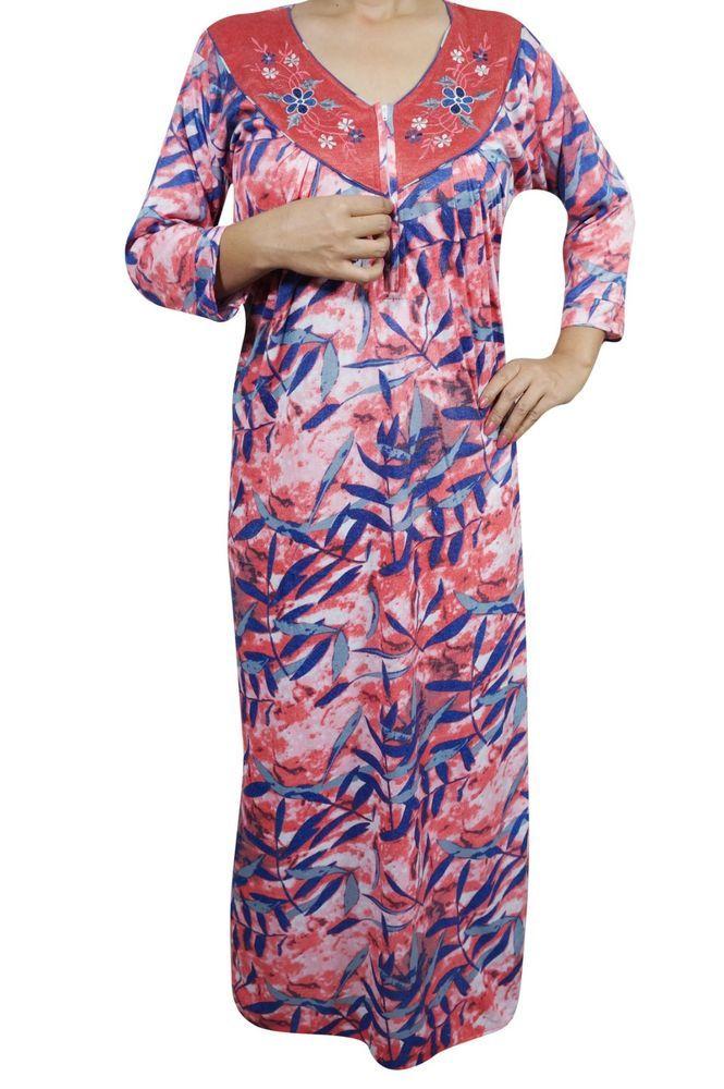 Indiatrendzs Women Nightwear Hosiery Printed Red Sleepwear Maxi Nighty Chest   44  295d05f9c