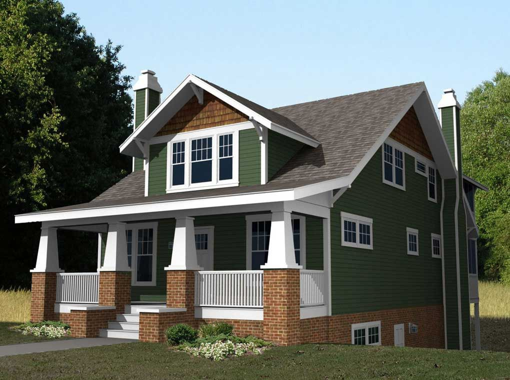 Cedar at top of siding beautiful small craftsman style home plans with green wall paint color combine with red brick wall ideas also with gray roof tile