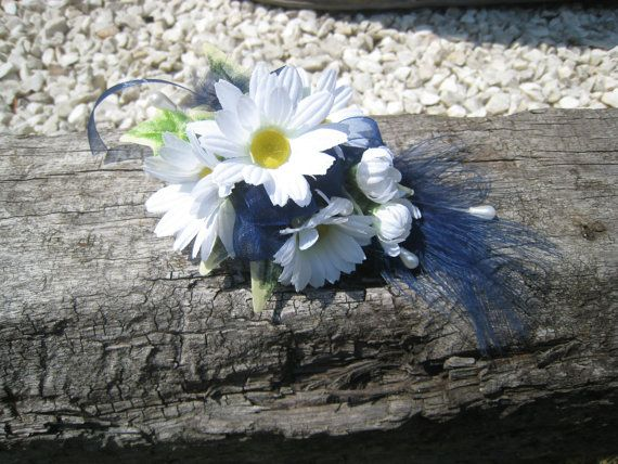 White Daisy and Navy Feather Flower Corsage Weddings by RoseandPin