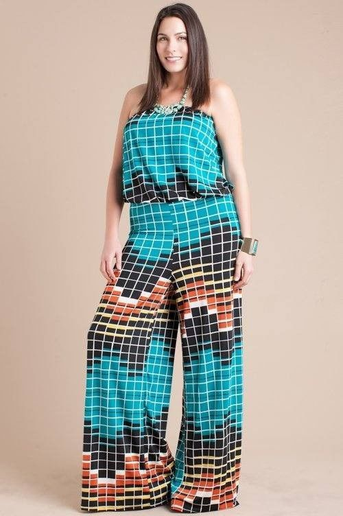 Plus Size Sleeveless Tube Top Wide Loose Flare Leg Palazzo Pant Suit