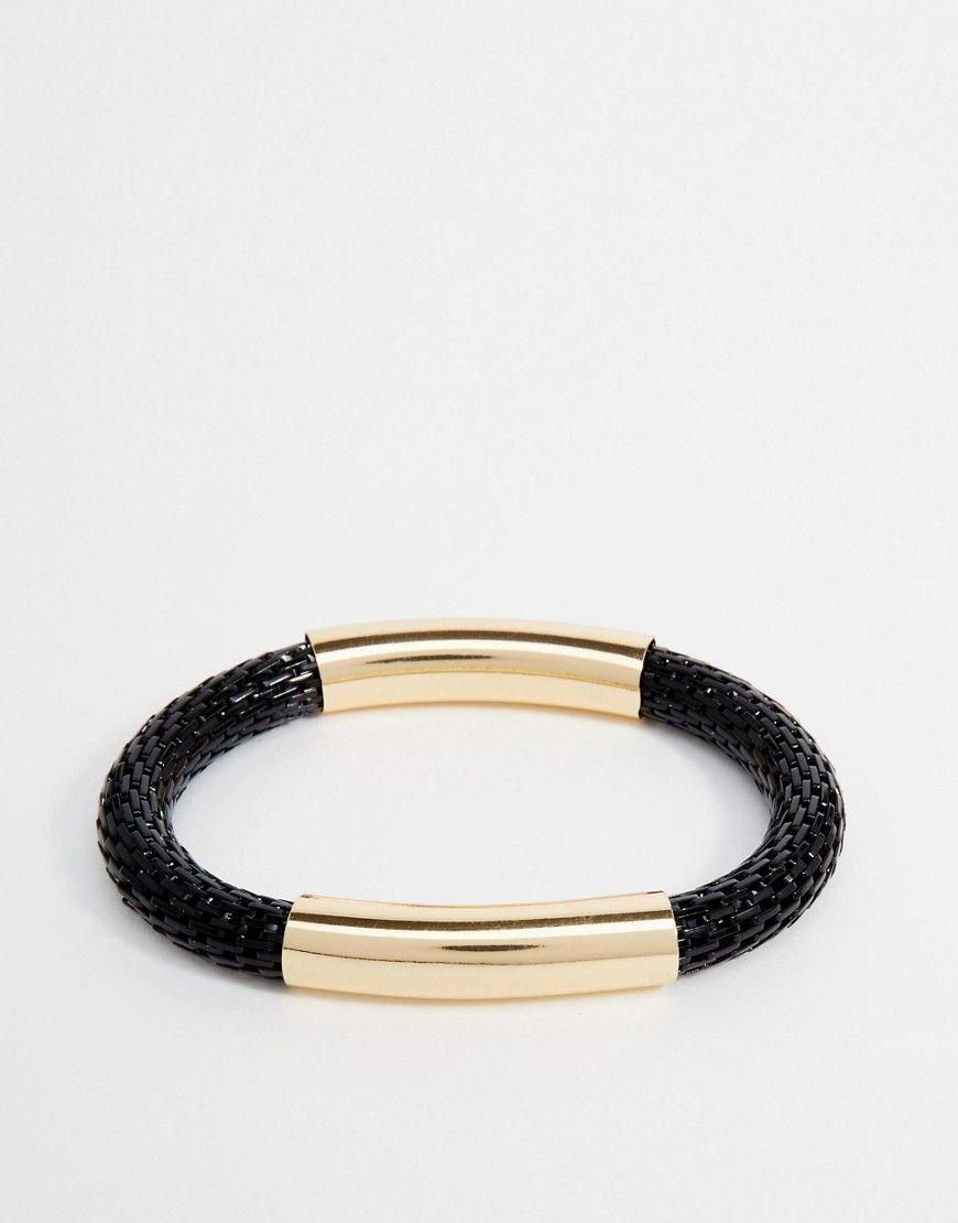 Super cool Designsix Woven & Metal Bracelet - Black Designsix Bracelets til Herrer i luksus kvalitet