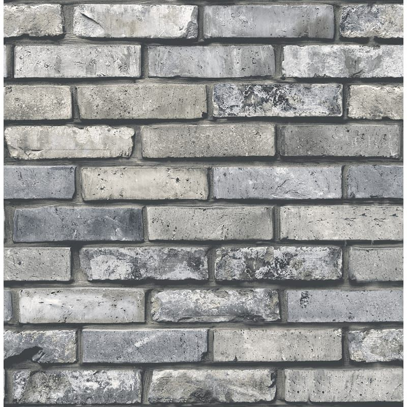 Brewster Fd23288 Gray Industrial Chic Painted Brick Unpasted Wallpaper In 2020 Brick Exterior House Brick Effect Wallpaper Brick Wallpaper Roll