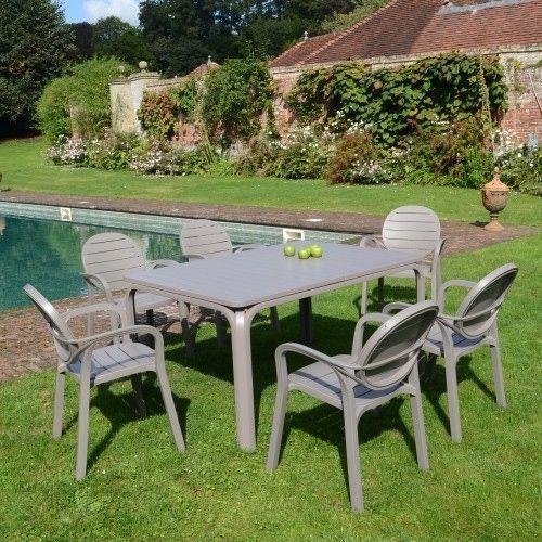 6 seat garden dining set turtle dove shade plastic resin patio