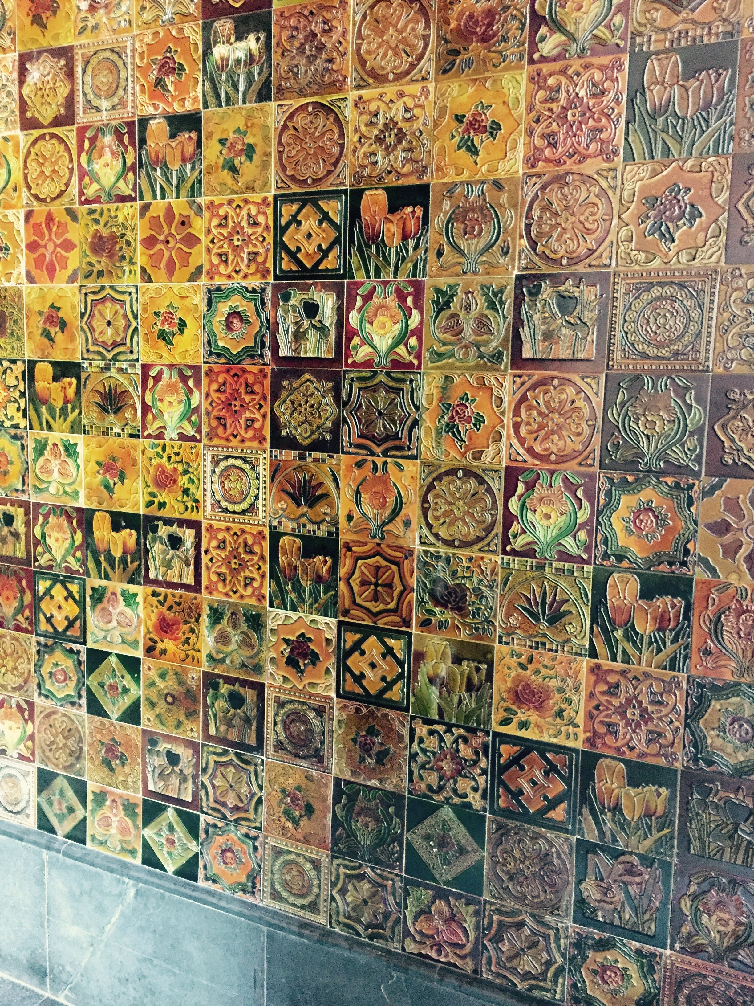Love This Wall Full Of Colourful Small Square Tiles At Sabyasachi Store Delhi Pretty Indian Tiles Cool Walls Wall Tiles Living Room Tiles