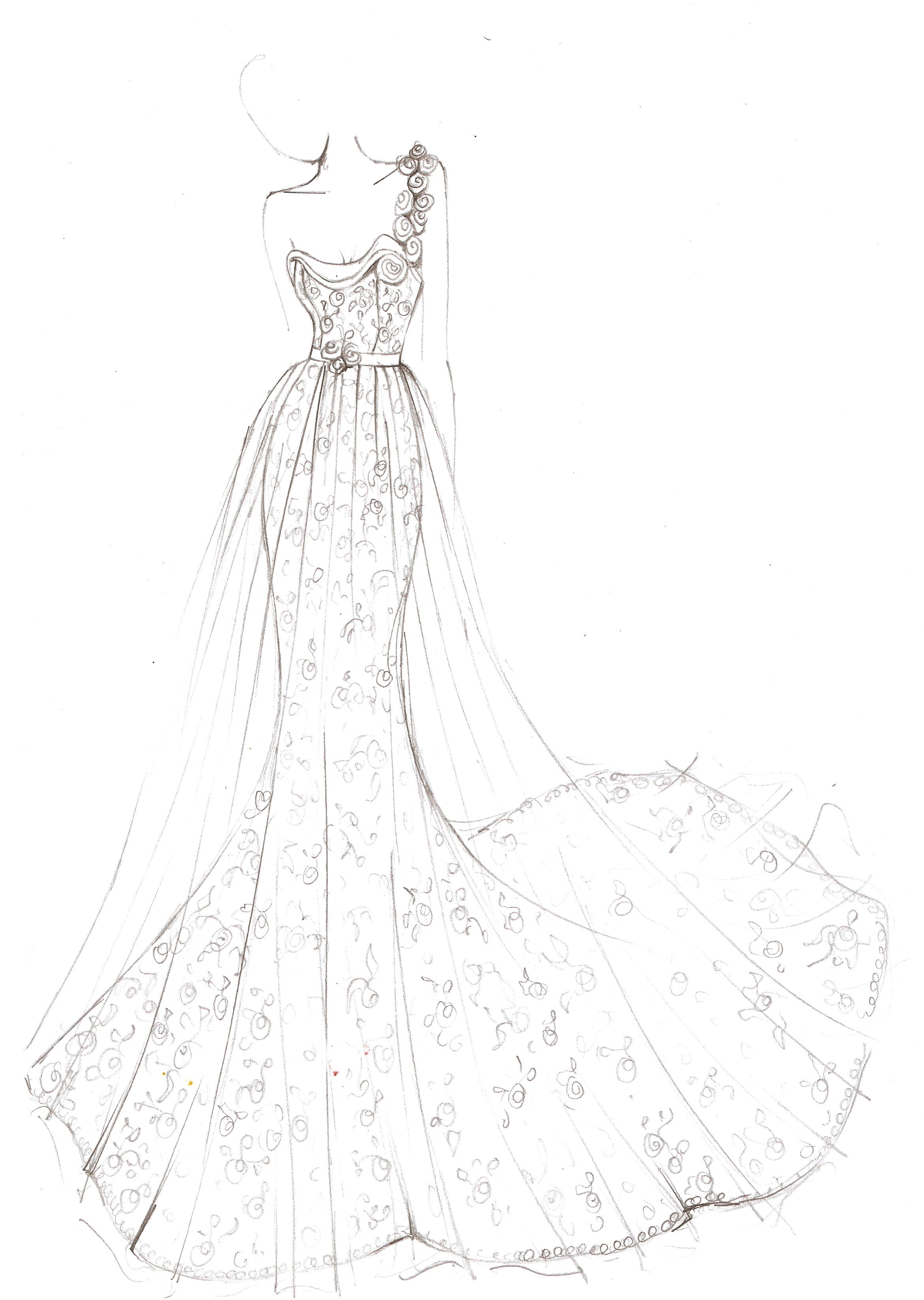 Dione Designed By White Leaf Bridal Design Illustration Bridal Bespoke Whiteleaf Lace Dress We Dress Design Drawing Bridal Designs Fashion Illustration