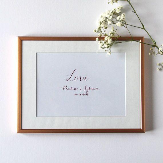 Customized Love poster calligraphy Gift souvenir Pacs wedding