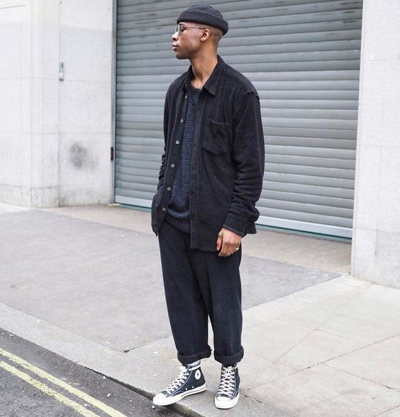 black converse mens style