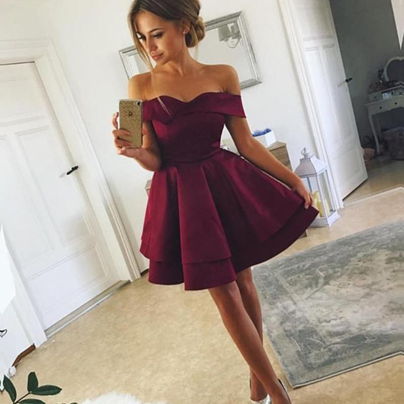 d5e0a618f1f Lovely 2018 Dark Red Off the Shoulder Short Graduation Prom Dress 8th Grade  Junior Prom Gown