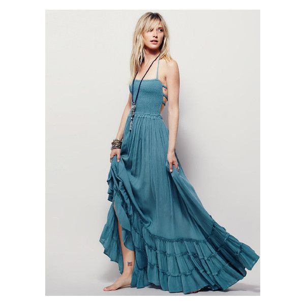 Blue Strappy Backless Shirred Tiered Hem Maxi Dress (2830 RSD) ❤ liked on Polyvore featuring dresses, rouched dress, blue ruched dress, ruching dress, strappy maxi dress and shirred dress