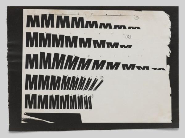 [Experiment mit dem Buchstaben M]-Schrift / Typografie Wolfgang Weingart