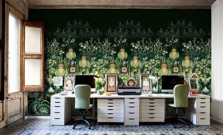 Décoration bureau moderne avec poster mural xxl à motifs hiboux et