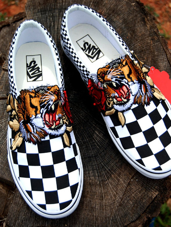 ad748af029 Custom Rose Tiger Embroidered Vans Slip On checkered vans