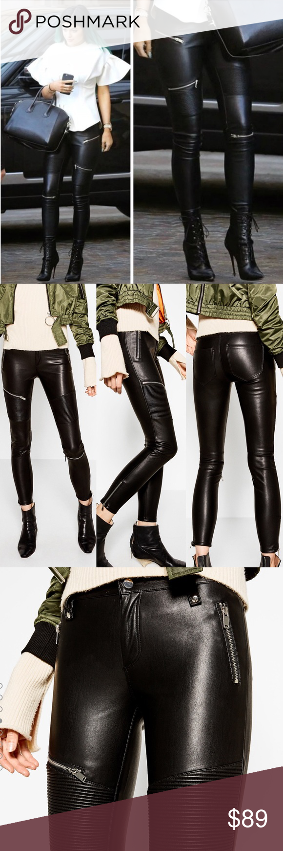 36c34990 Zara black faux leather biker moto pants with silver zippers. Fit is true  to size. Size small and medium are ...