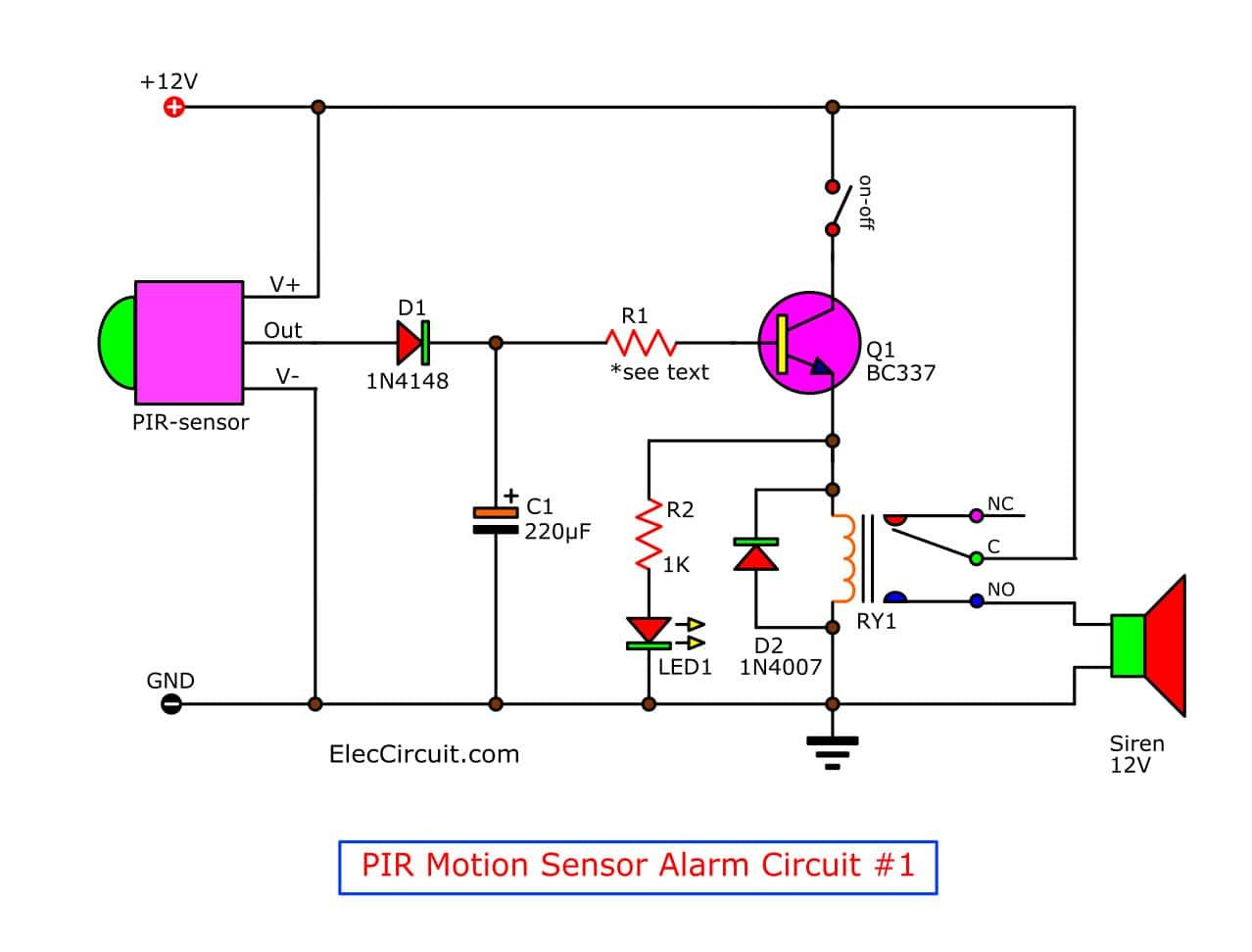 Motion Detector Alarm Circuit With Pir Sensor Simple And Cheap Motion Detector Electrical Circuit Diagram Electronics Circuit
