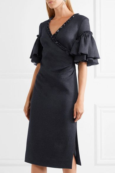 Buy Cheap Cost Oscar De La Renta Woman Printed Paneled Satin And Crepe Midi Dress Black Size 4 Oscar De La Renta Outlet With Paypal Order Online U7YiO2d7rQ