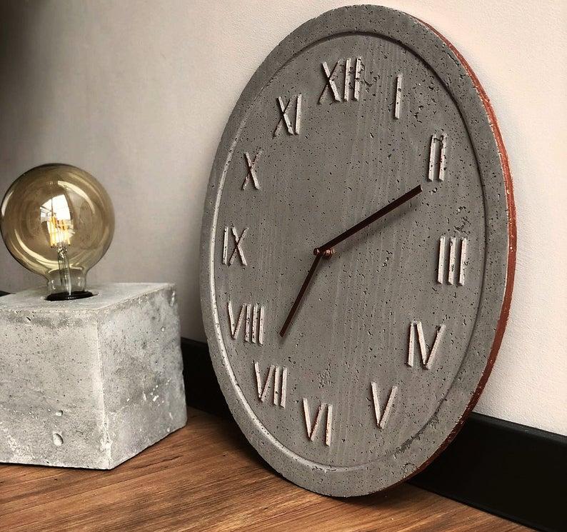 Industrial Wall Clock 45cm Handmade Of Concrete Minimalist Industrial Style Modern Wall Decor Concrete Home Decor Wedding Gift In 2020 Industrial Clock Wall Industrial Wall Minimalist Clocks