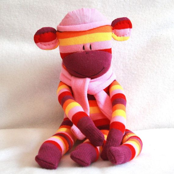 026fb7f0 Sock Monkey Kit Purple Pink and Yellow strips by Squigglymonkeys, $20.00