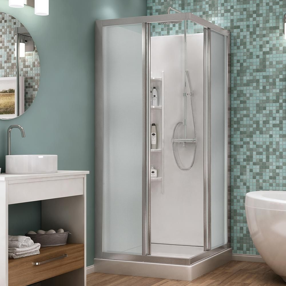 32 Corner Entry Shower Kit White Clear Asb Bathing Systems