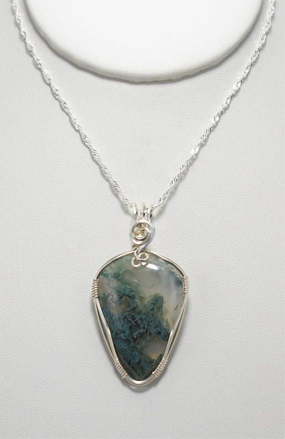 Beautiful Moss Agate Silver Wire Wrapped Pendant | Wire Crafts ...