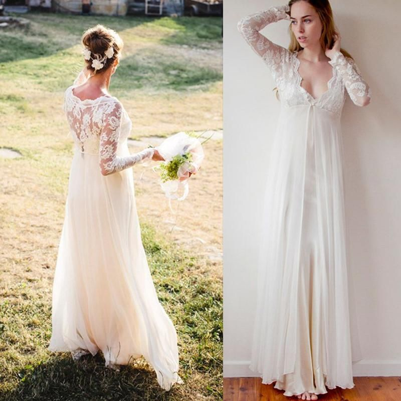 Lace Gowns Bohemian Wedding Dresses Sleeves Long Ivory Chiffon And V Neck Floor Length Empire